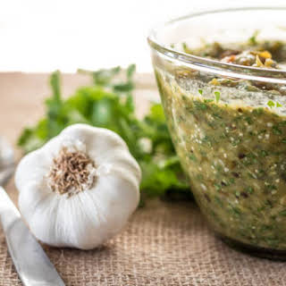 Roasted Tomatillo and Hatch Green Chile Salsa.