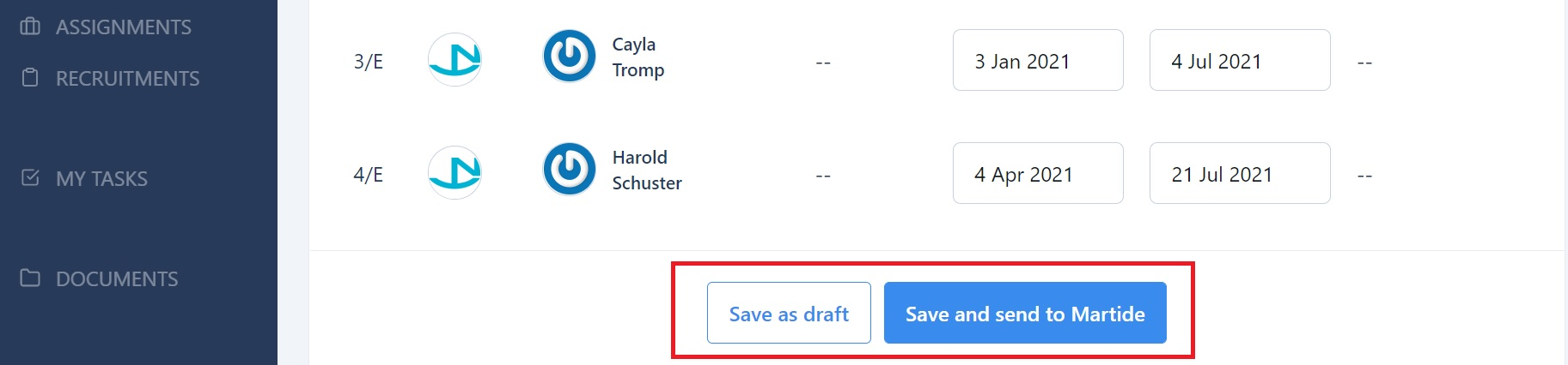 screenshot showing the save button.