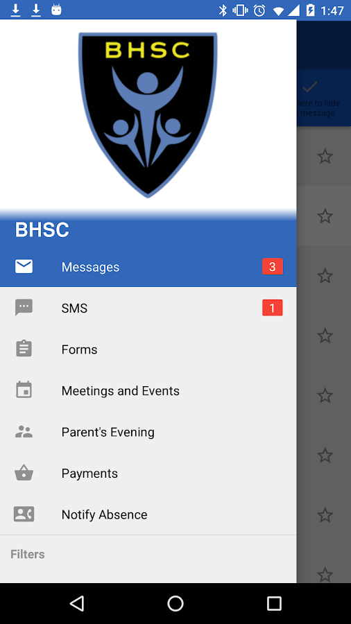 BHSC Parent Mail- screenshot