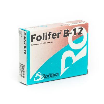 Hierro + Ácido Fólico Folifer B12 x 30 Tabletas