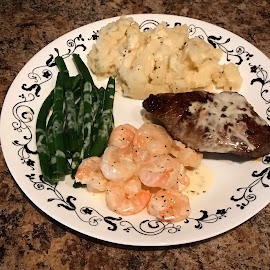 Surf and Turf by Debbie Quick - Food & Drink Plated Food ( meal, mashed potatoes, yummy, shrimp, debbie quick, steak, dinner, plated food, green beans, debs creative images, food )