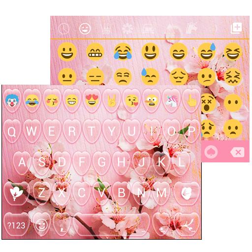 Pink Spring Emoji Keyboard Live Wallpaper