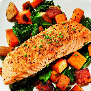 Cumin-Roasted Salmon and Sweet Potato