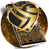 Gold Star Dust Luxury Black Keyboard Theme 2018 Android APK Download Free By RIU Design