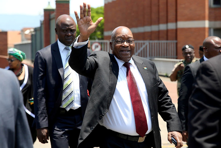 Former president Jacob Zuma walks out of the Pietermaritzburg high court to address his supporters after court proceedings against him. Picture: THULI DLAMINI