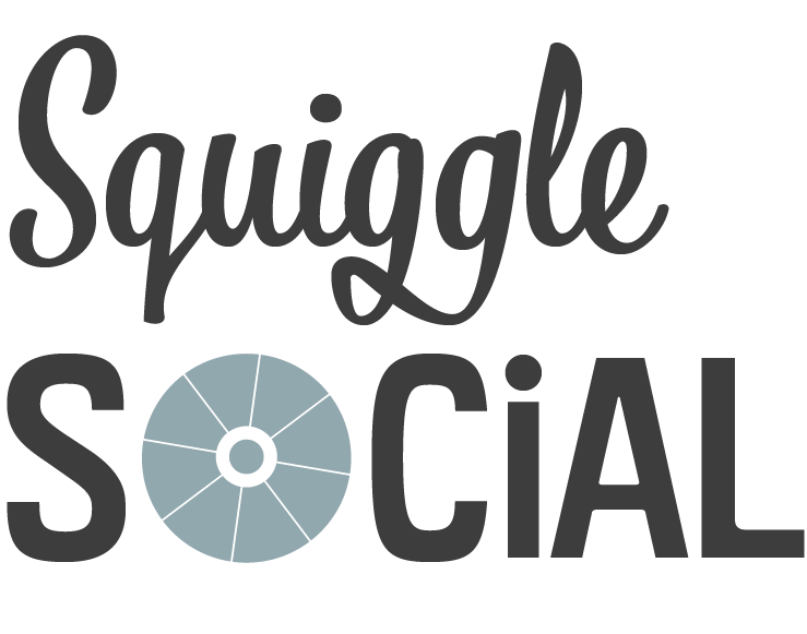 Blue wheel with words: Squiggle Social