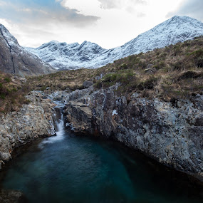 Cullins, Isle of Skye by Iain Cathro - Landscapes Mountains & Hills ( scotland, mountains, skye, cullins, waterfall, snow )