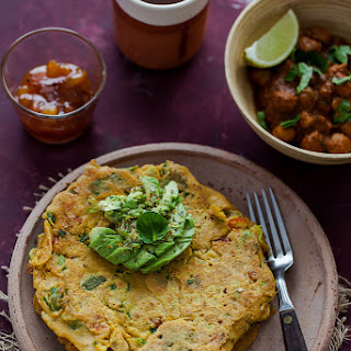 Chilla - Indian Spiced Chickpea Pancakes with Avocado, Kale and Spinach.
