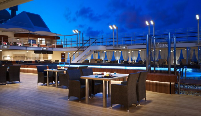 Dine al fresco at Hot Rocks on the pool deck of Silversea ships for meals cooked to your  preference.