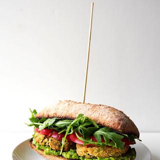 Zucchini Chickpea Cashew Patty Sandwich