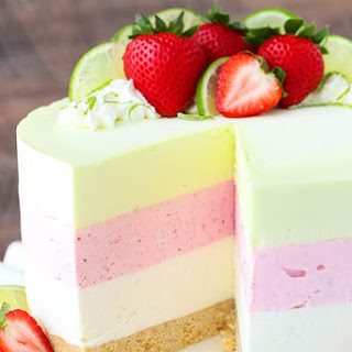 Key Lime Strawberry Coconut Ice Cream Cake.