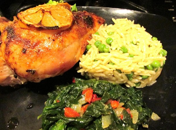 Serve with your favorite sides, I served it with Orzo Pilaf, and Fresh Spinach...