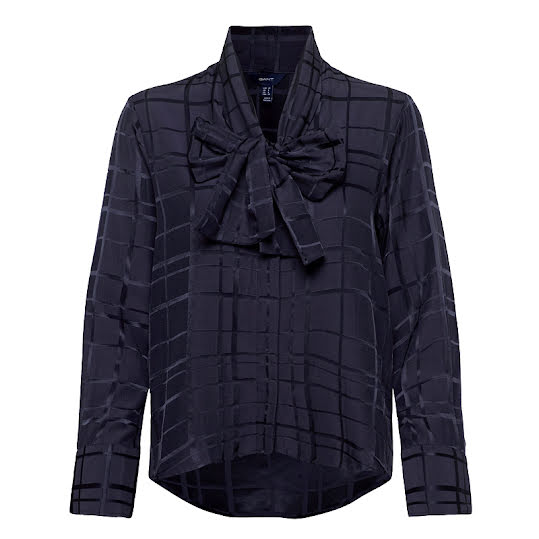Gant D2. Bow Blouse Structured Check