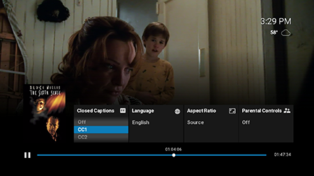 Format closed captions options to Google Fiber TV.