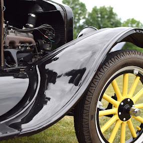 Auto show by Steve Hayes - Transportation Automobiles ( car, auto, yellow, ford, antique )