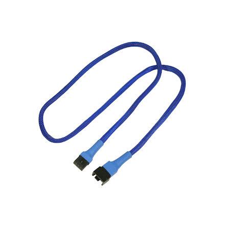 Forlenger, 4 pins PWM vifte, kabelstrømpe, 60cm, blå