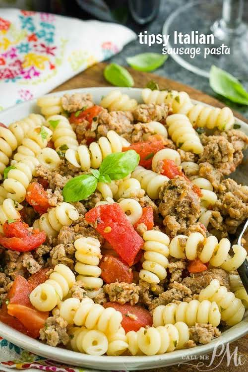 """Tipsy Italian Sausage Pasta """"Tipsy Italian Sausage Pasta is incredibly flavorful and..."""