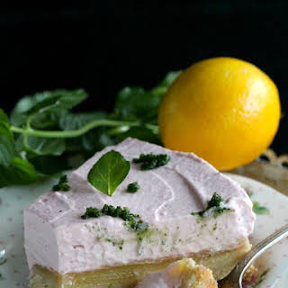 Lemon Bar Raspberry Mousse Cake with Mint Sugar.