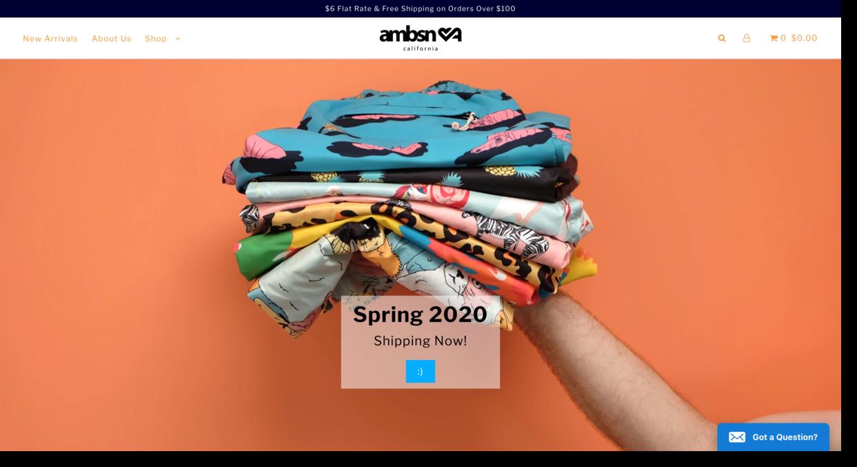 Ambsn website screenshot swimwear brand