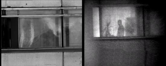 Photo: Слева: окна здания напротив освещены солнцем. Стекла окон грязные, бликуют на солнце. За стеклами практически ничто не просматривается ни визуально, ни с помощью ТВК.  Справа: те же окна, но наблюдаемые с помощью прибора «Призрак-М». За стеклами видна часть помещения. За жалюзи видна фигура человека, комнатные цветы на подоконнике и дверь в помещение.
