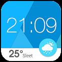 クール時計ウィジェット(天気ウィジェット、涼しい、手軽な) icon