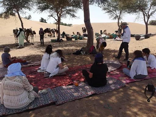 Repos; stage énergétique en connexion aux dromadaires dans le désert Chantal Vereyen