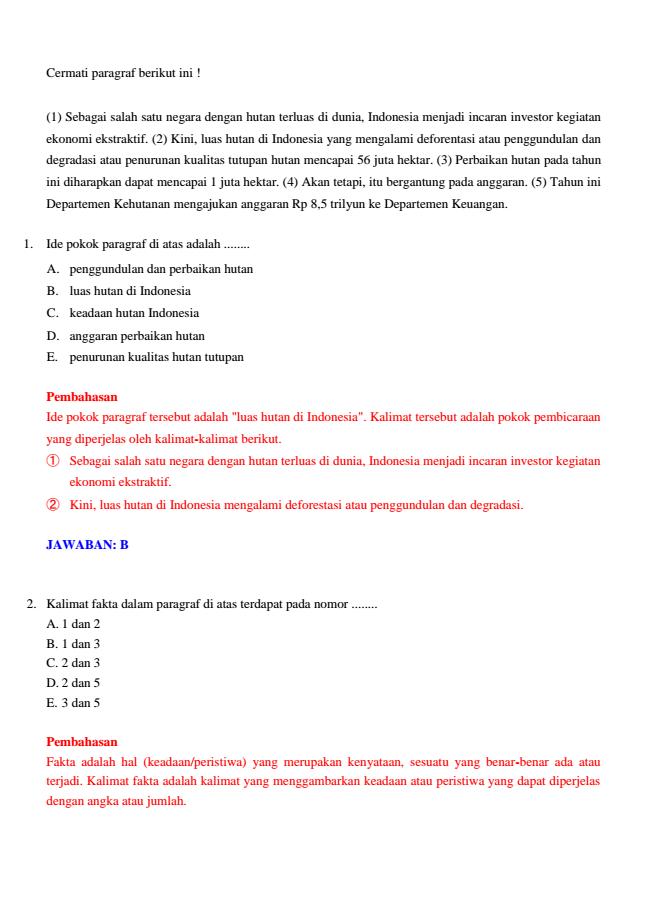 Prediksi Soal Ujian Nasional Bahasa Indonesia 2014 Pembahasan Lulus Un 2014