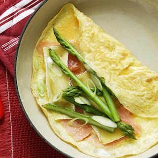 Smoked Salmon, Asparagus and Brie Omelette.