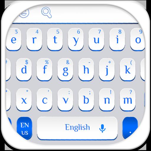 Simple Blue White Keyboard