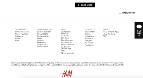 H&M bottom of page no search bar