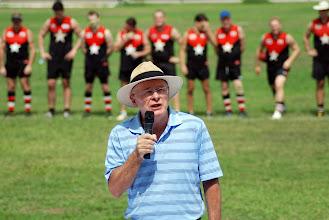Photo: Australian Consul General, John McAnulty, addresses the crowd prior to the match. Photo, Richard Quinn.