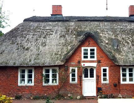 Zniszczony dach trzcinowy przeznaczony do wymiany