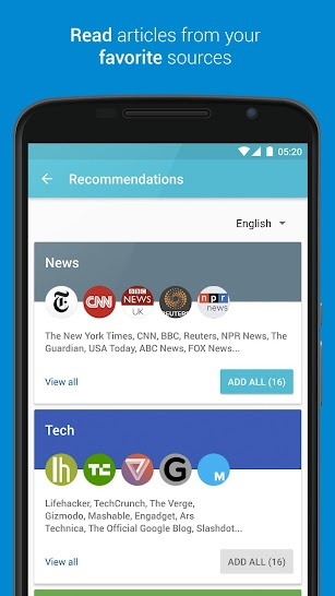Palabre Feedly RSS Reader News screenshot for Android