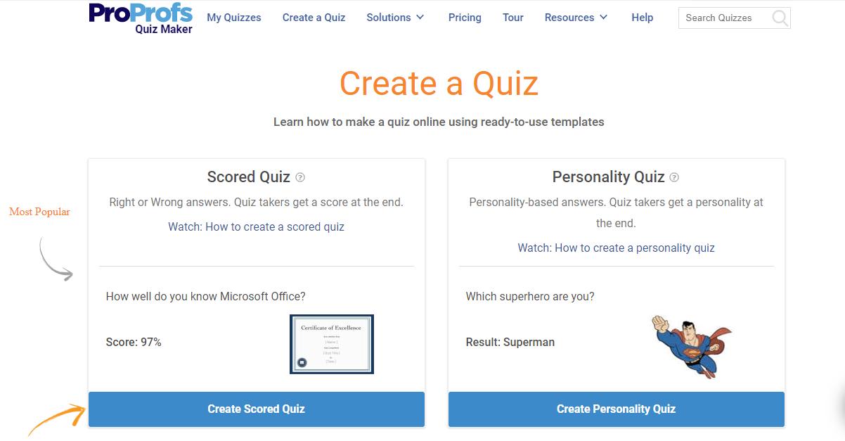 Creating a Scored Quiz
