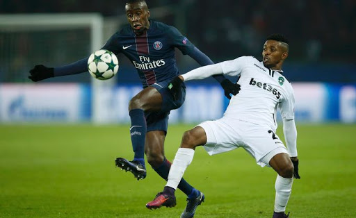 Who's holding who? Paris St Germain's Blaise Matuidi in action with PFC Ludogorets Johnatan Cafu in a Uefa Champions League match. Picture: REUTERS