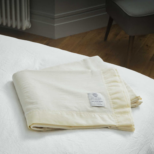 John Atkinson Lightweight Merino Wool Blanket White