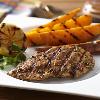 Moroccan Spiced Chicken Cutlets with Grilled Sweet Potatoes.