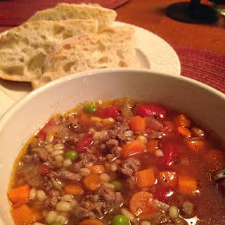 Mom's Vegetable Beef Barley Soup.