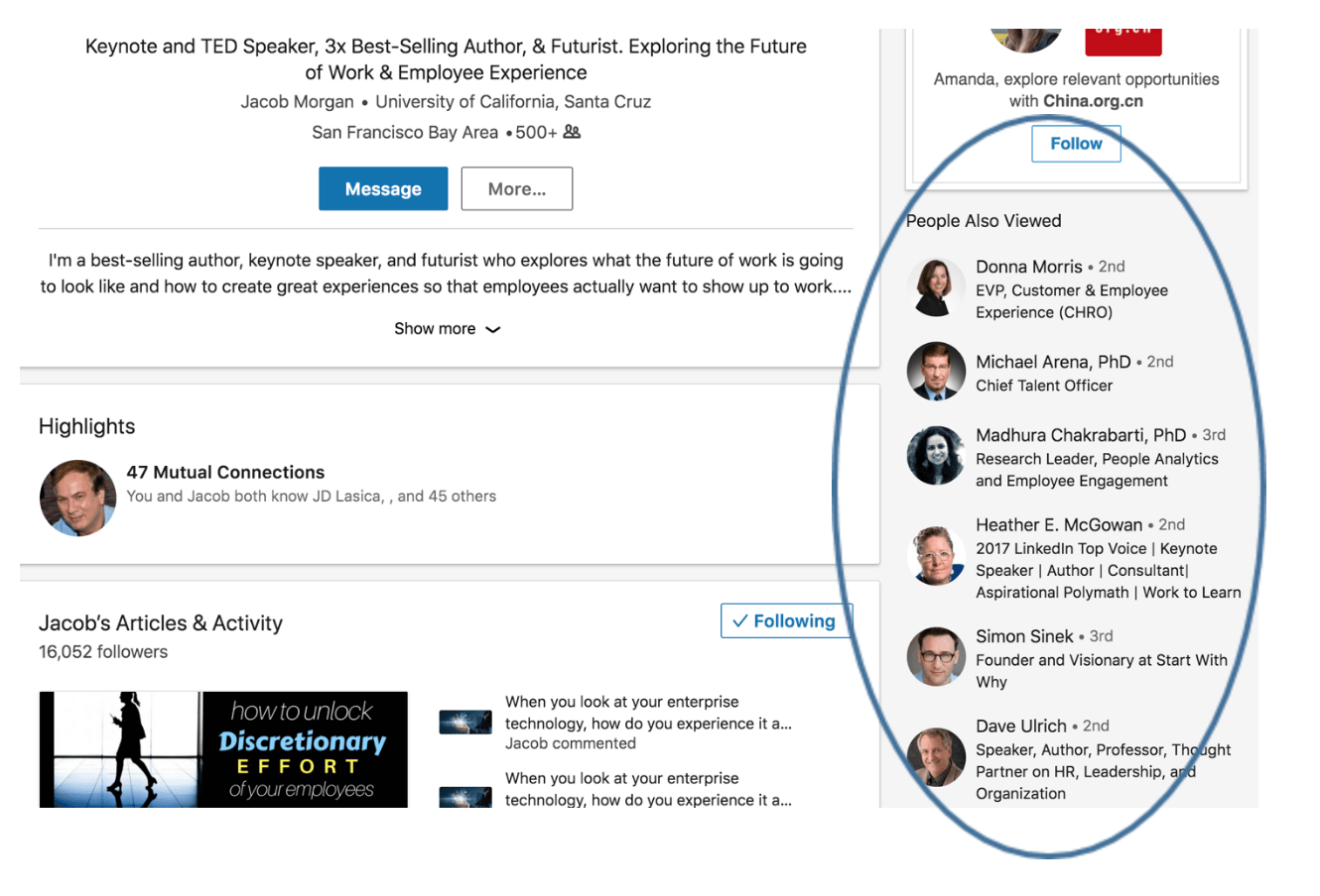 linkedin sidebar for recommendations