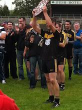 Photo: Morgan Shanley lifts the Senior Shield for Bornacoola, 2011