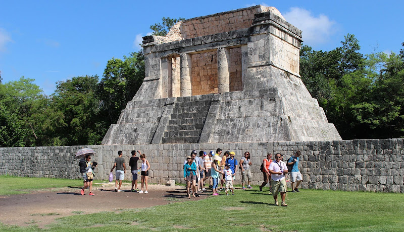 Preserved site of Mayan ruins near Cancun, Mexico.
