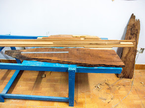 """Photo: the """"căm xe"""" wood plank, very heavy, preparing to cut the seats' legs"""