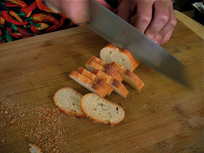 Photo: slicing sourdough baguette for shrimp toast