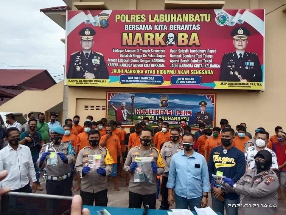 Polres Labuhanbatu Konfrensi Pers Ungkap Kasus Tindak Pidana Narkotika