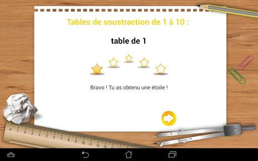 Tables de soustractions 1 à 10