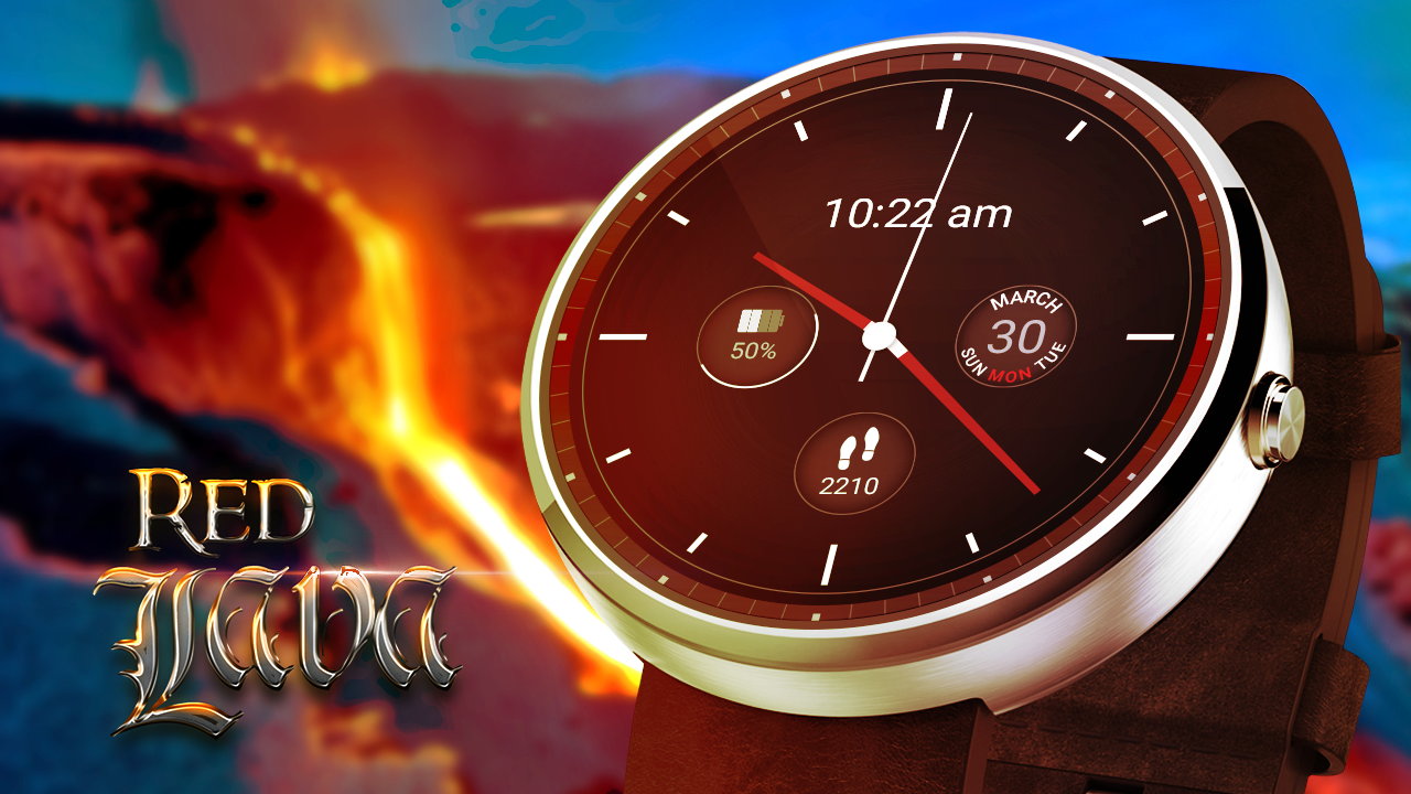 Red Lava Analog Watch Face- screenshot