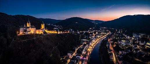 Photo: Dezemberabend rund um die #Burg #Altena im #Sauerland  - December evening arround the #castle of Altena in the west German Sauerland region - #Märkischerkreis #aerial #aerialphotography #panorama #drone #copter #sunset #bluehour #kopter #drohne #Lenne #Phantom3 #photomaniagermany #nightphotography