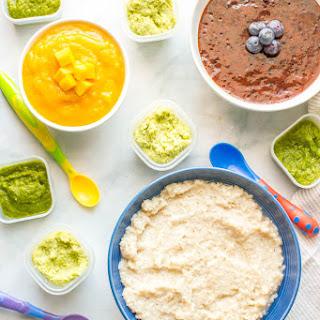Homemade Baby Food Barley, Asparagus, Edamame, Blueberries And Mango.