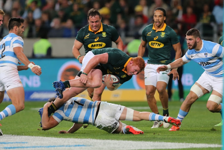 Ball carrier Steven Kitshoff of South Africa during the Rugby Championship match between South Africa and Argentina at Nelson Mandela Bay Stadium on August 19, 2017 in Port Elizabeth, South Africa.