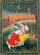 Photo: DIN-68700Miniature Painting on Paper Enjoying Radha Krishana.
